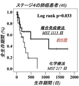 ステージ4の肺癌患者 全生存期間(%)と生存期間(日)の相関グラフ