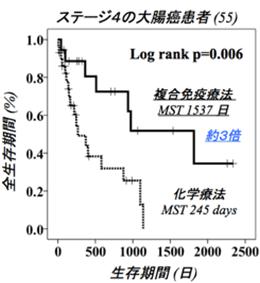 ステージ4の大腸癌患者 全生存期間(%)と生存期間(日)の相関グラフ